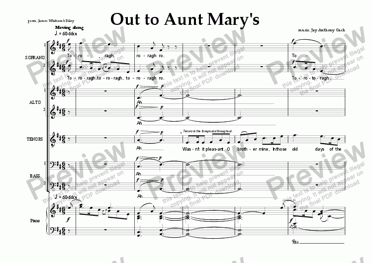 page one of Out to Aunt Mary's