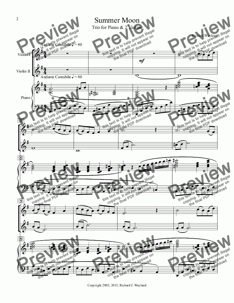 page one of Summer Moon (Trio for violins and piano}ASALTTEXT