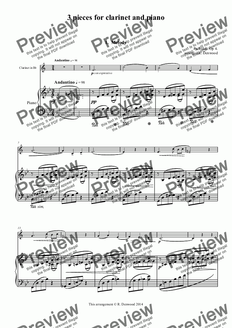 page one of Pachulski - 3 pieces for clarinet and piano