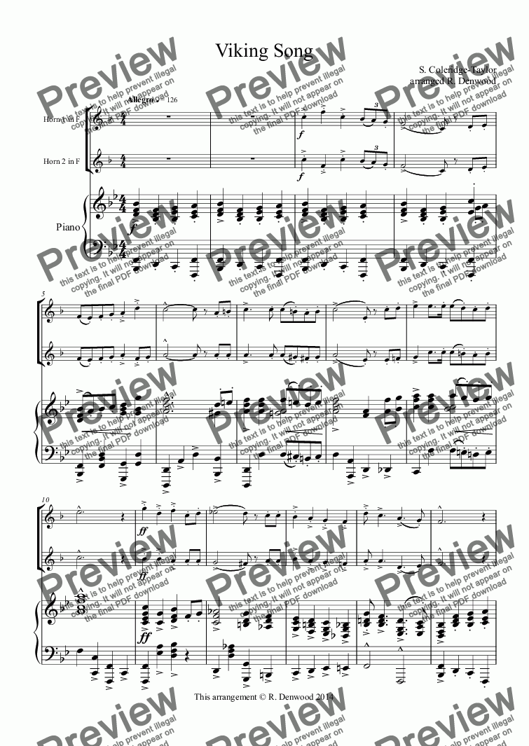 page one of Coleridge-Taylor - Viking Song for 2 Horns in F & PianoASALTTEXT