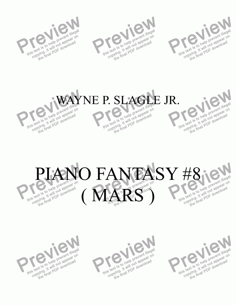 page one of PIANO FANTASY #8 ( MARS )