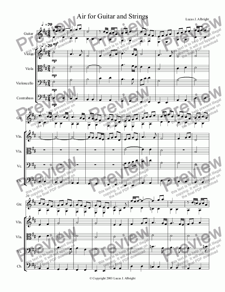 page one of Air for Guitar and Strings