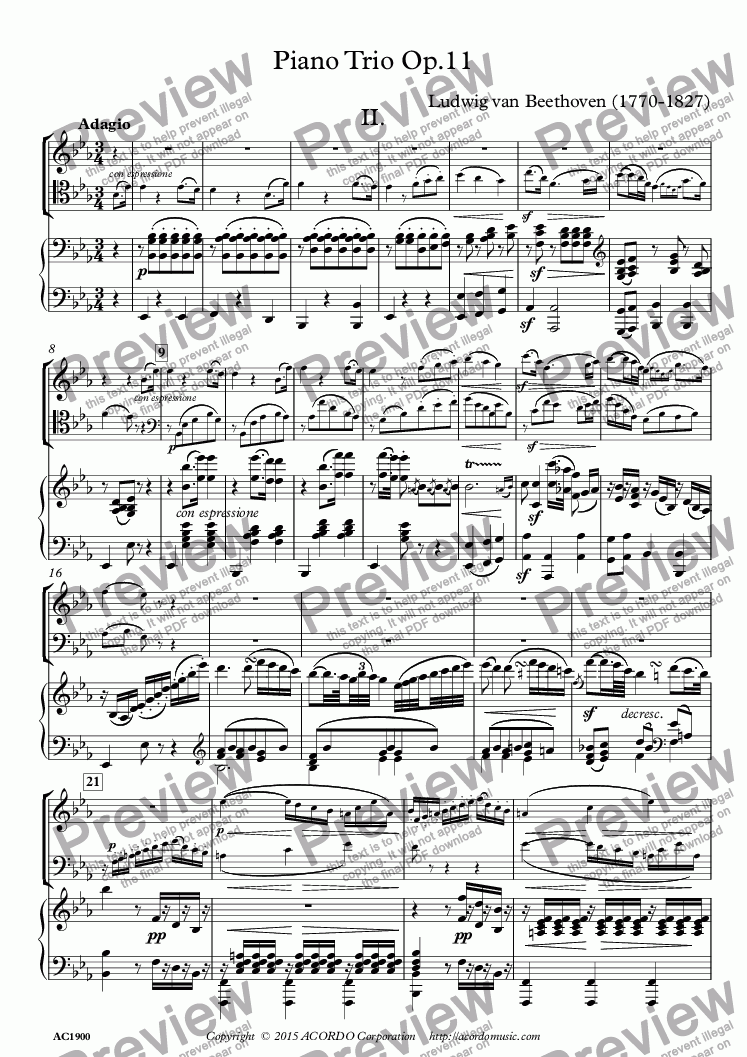 page one of Adagio from Pianio Trio Op.11