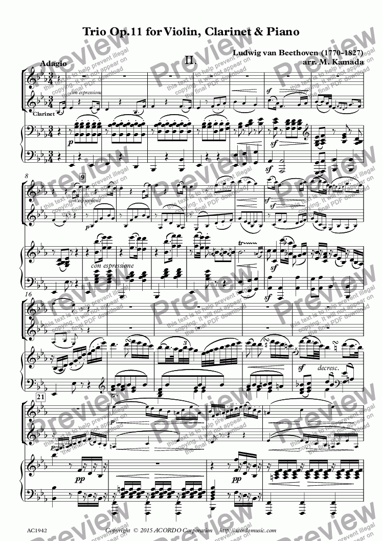 page one of Adagio from Trio Op.11 for Violin, Clarinet & Piano