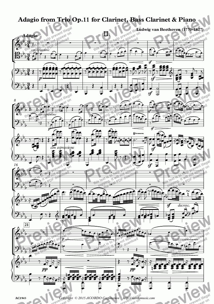 page one of Adagio from Trio Op.11 for Clarinet, Bass Clarinet & Piano