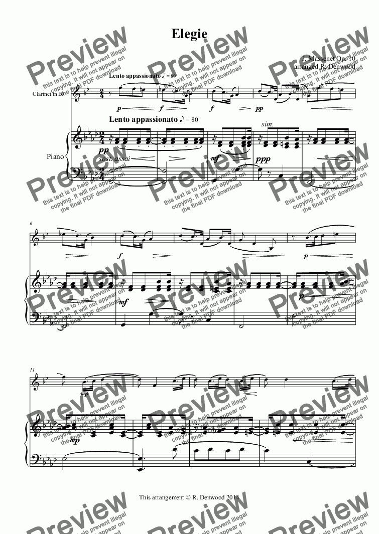 page one of Massenet - Elegie, Op 10, for Bb Clarinet and piano