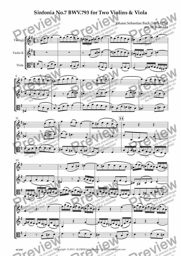 page one of Sinfonia No.7 BWV.793 for Two Violins & Viola