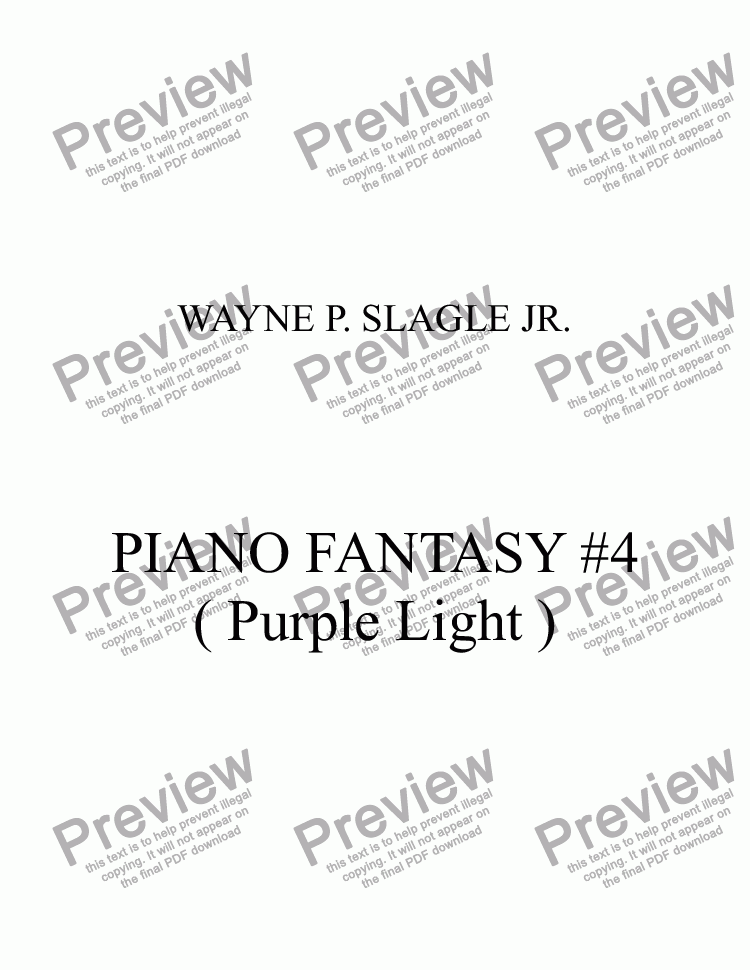 page one of PIANO FANTASY #4 ( Purple Light )