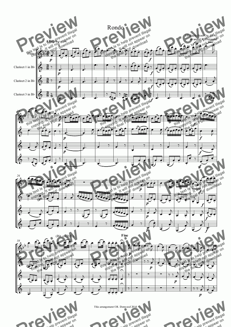 page one of Bach J.C. - Rondo for Fl. and 3 clarinets