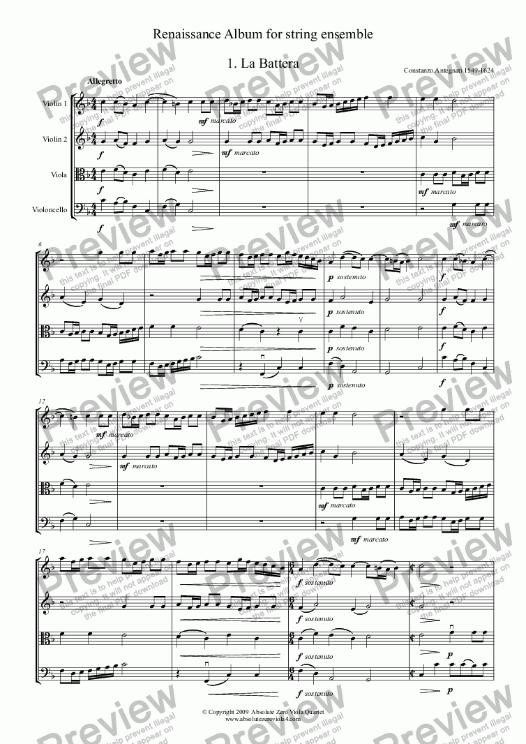 page one of RENAISSANCE ALBUM - for string ensemble