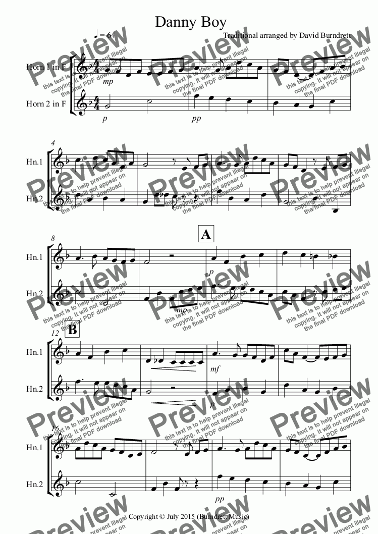 page one of Danny Boy for French Horn Duet