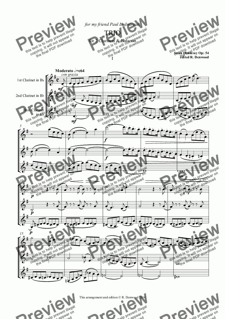 page one of Hennessy - Trio Op.54 for 2 Clarinets and Bass ClarinetASALTTEXT