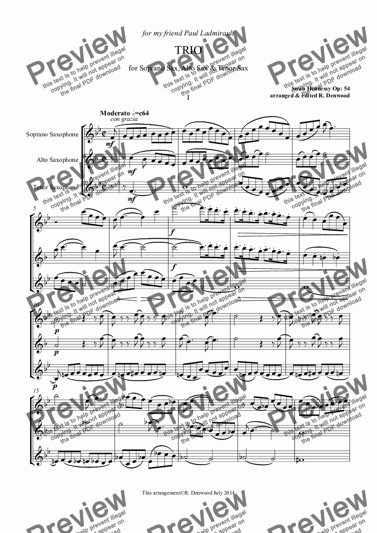 page one of Hennessy - Trio Op. 54 for 3 saxes S.A.T.