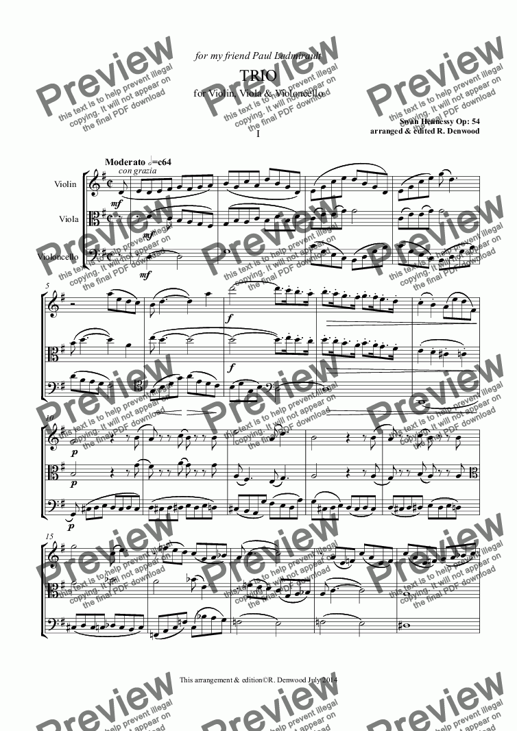 page one of Hennessy - Trio Op.54 for Violin, Viola and Cello