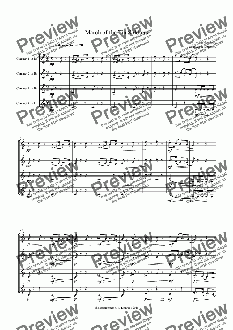 page one of Tchaikovsky - March of the Tin Soldiers, Op39/5, for 4 Clarinets