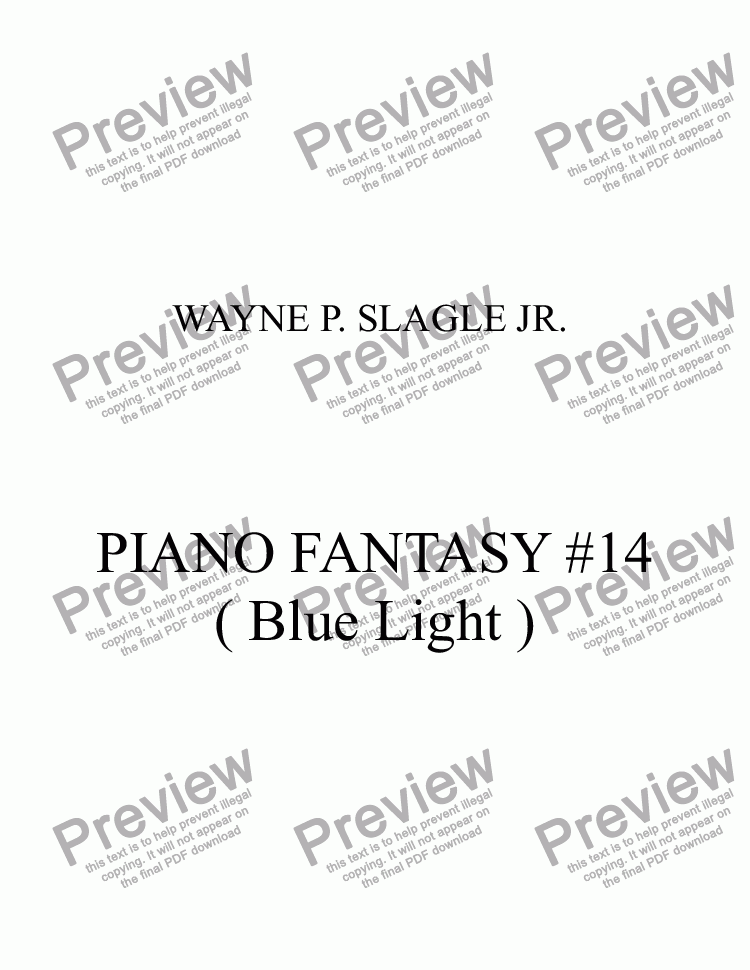 page one of PIANO FANTASY #14 ( Blue Light )