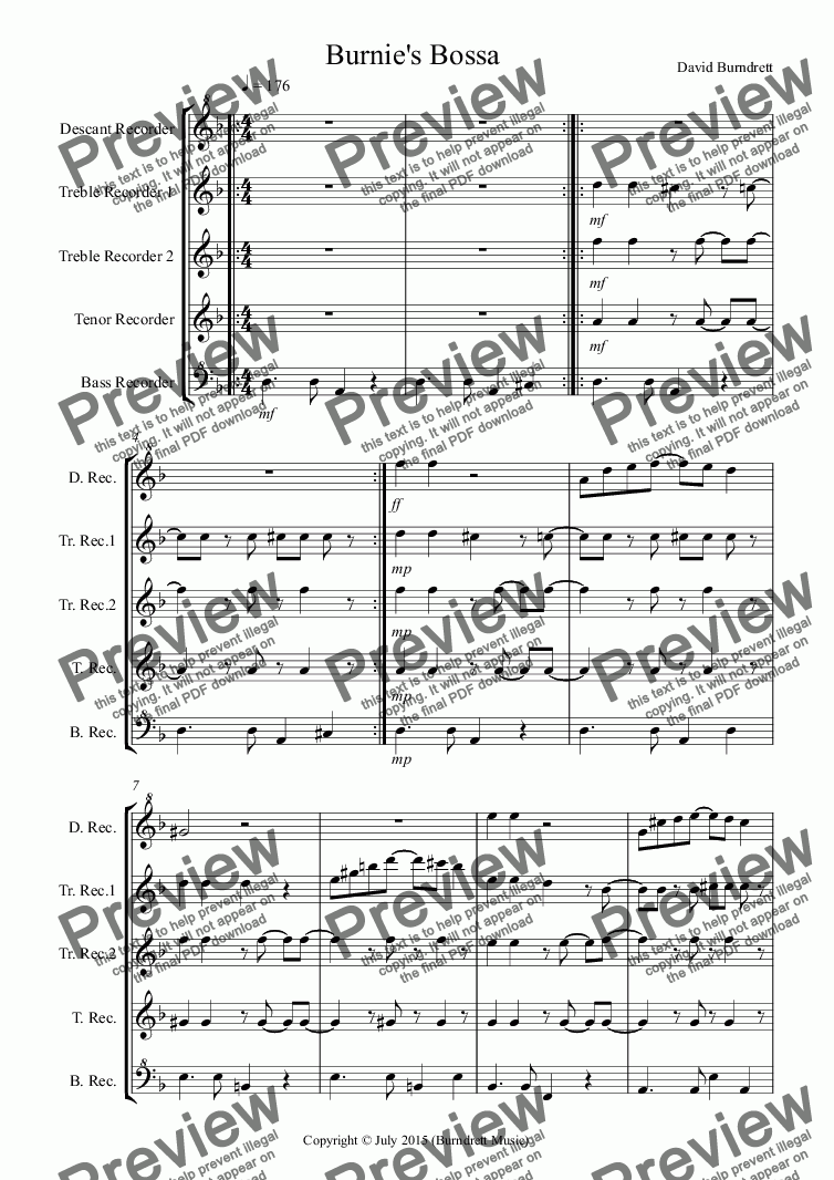 page one of Burnie's Bossa for Recorder QuintetASALTTEXT