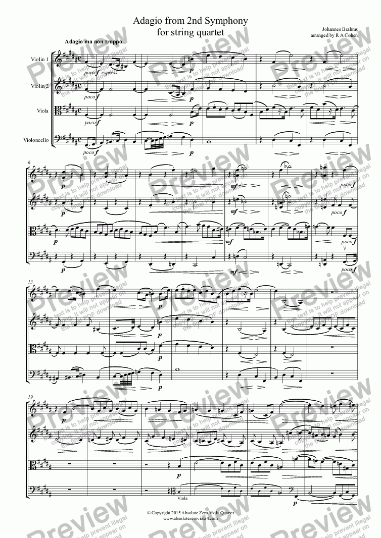 page one of Brahms - ADAGIO from 2nd Symphony - for string quartet