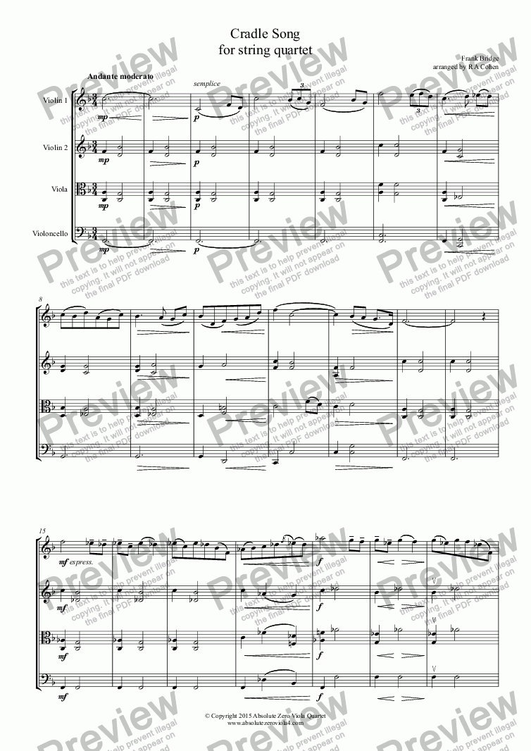 page one of Bridge - CRADLE SONG - for string quartet