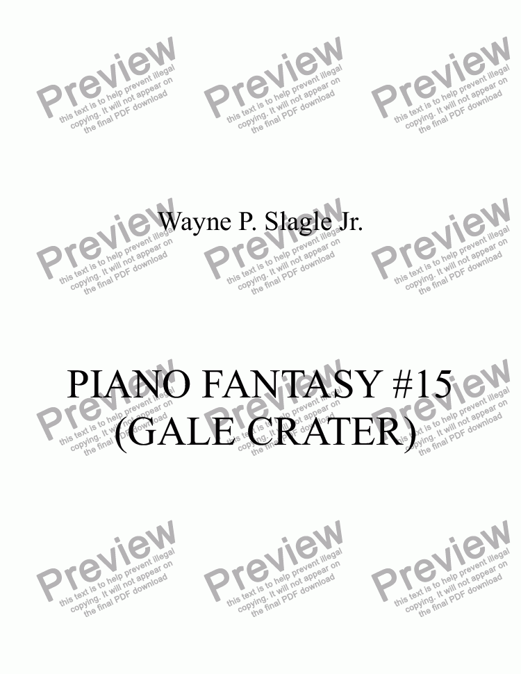 page one of PIANO FANTASY #15 (GALE CRATER)