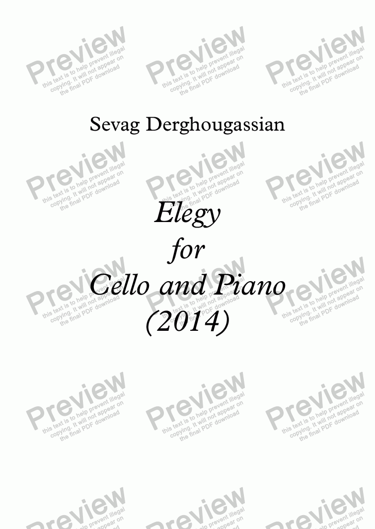 page one of Elegy  for  Cello & Piano