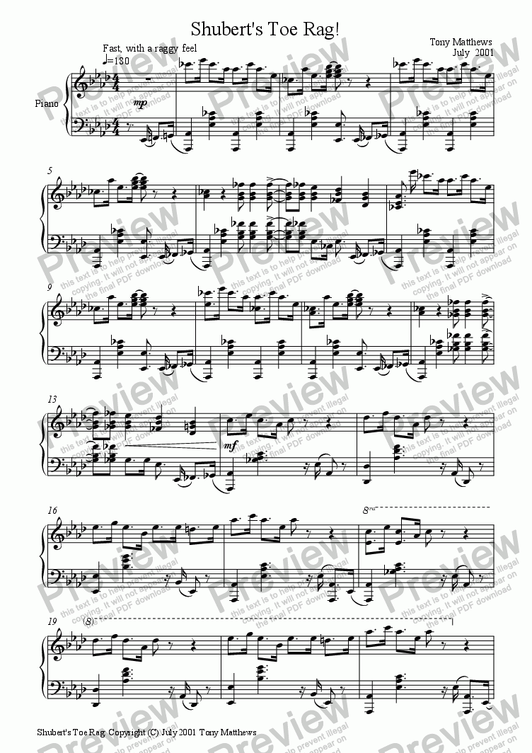 page one of Schubert's Toe Rag