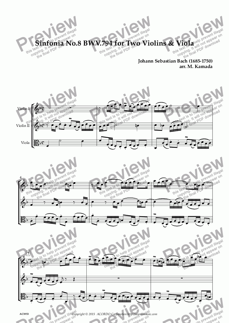 page one of Sinfonia No.8 BWV.794 for Two Violins & Viola