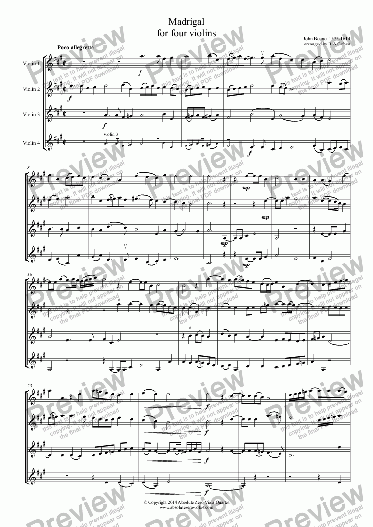 page one of Bennet - MADRIGAL - for four violins