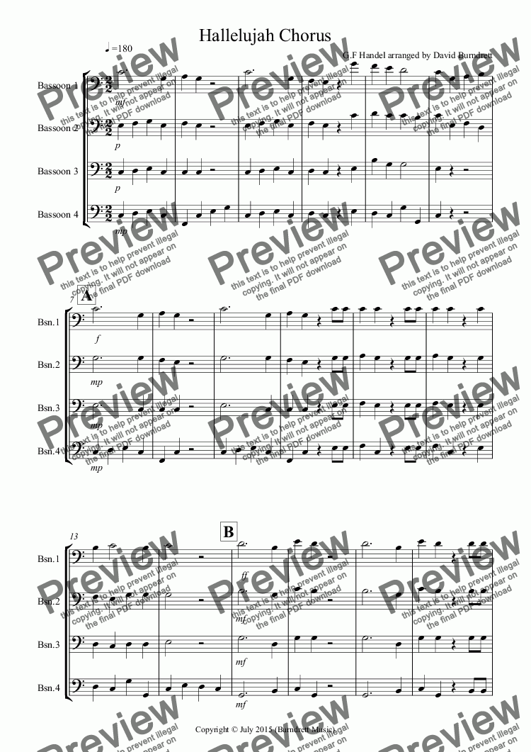 page one of Hallelujah Chorus for Bassoon Quartet