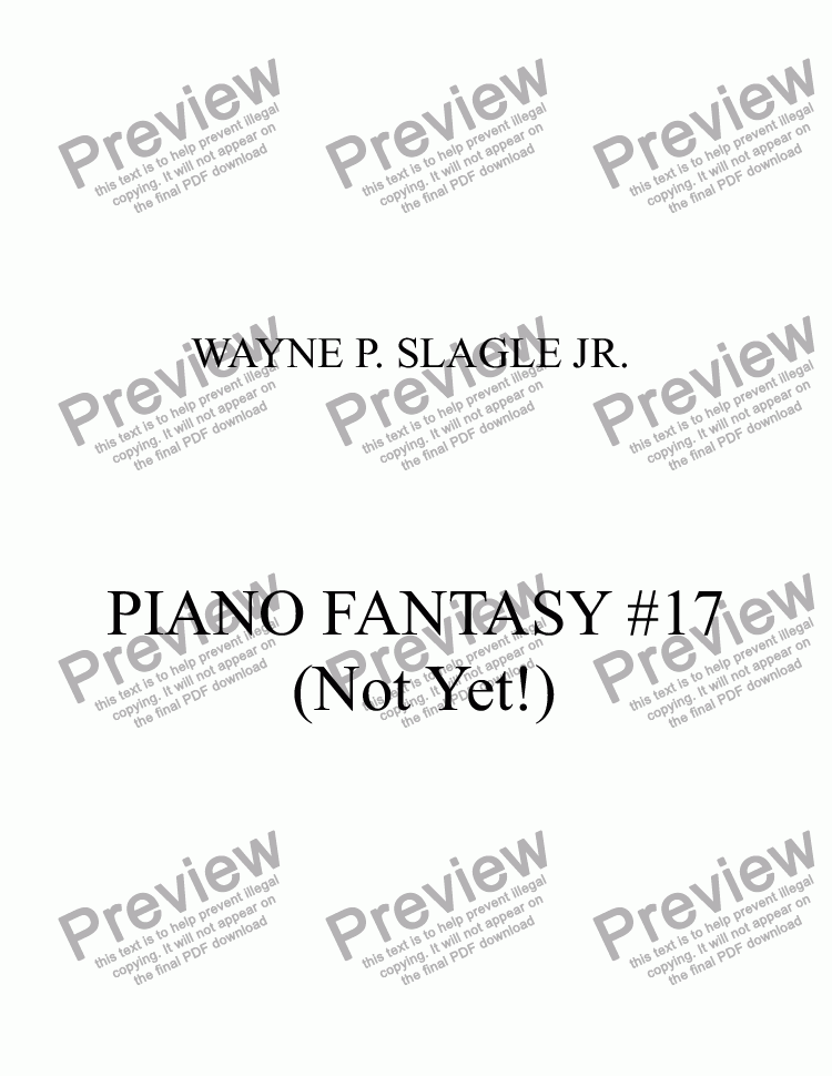 page one of PIANO FANTASY #17 (Not Yet!)