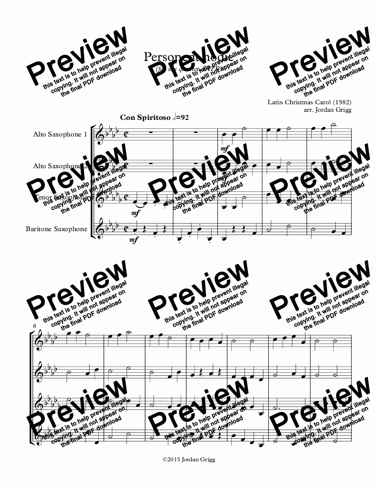 page one of Personent hodie (for sax quartet AATB)