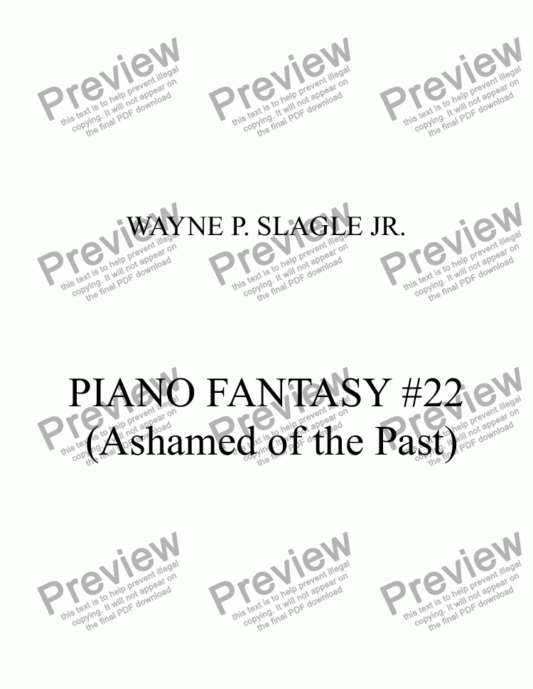 page one of PIANO FANTASY #22 (Ashamed of the Past)
