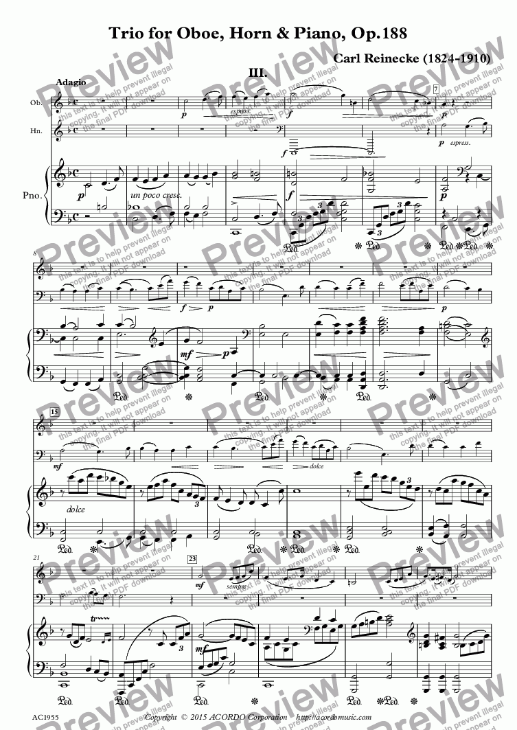 Adagio from Trio for Oboe, Horn & Piano, Op 188 for Piano trio by Carl  Reinecke (1824-1910) - Sheet Music PDF file to download