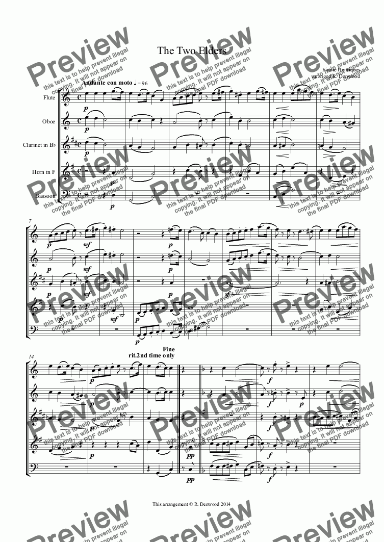 page one of Henriques (Fini) - The Two Elders for wind quintet