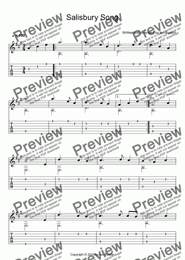 Salisbury Song for Classical Guitar for Solo instrument (Classical Guitar,  standard tuning (no rhythms) [tab]) by Ian Buxton - Sheet Music PDF file to
