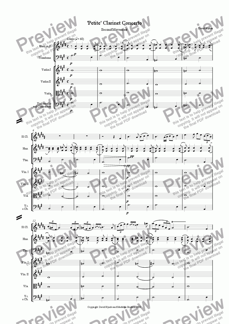page one of Petite Clarinet Concerto - Movement 2