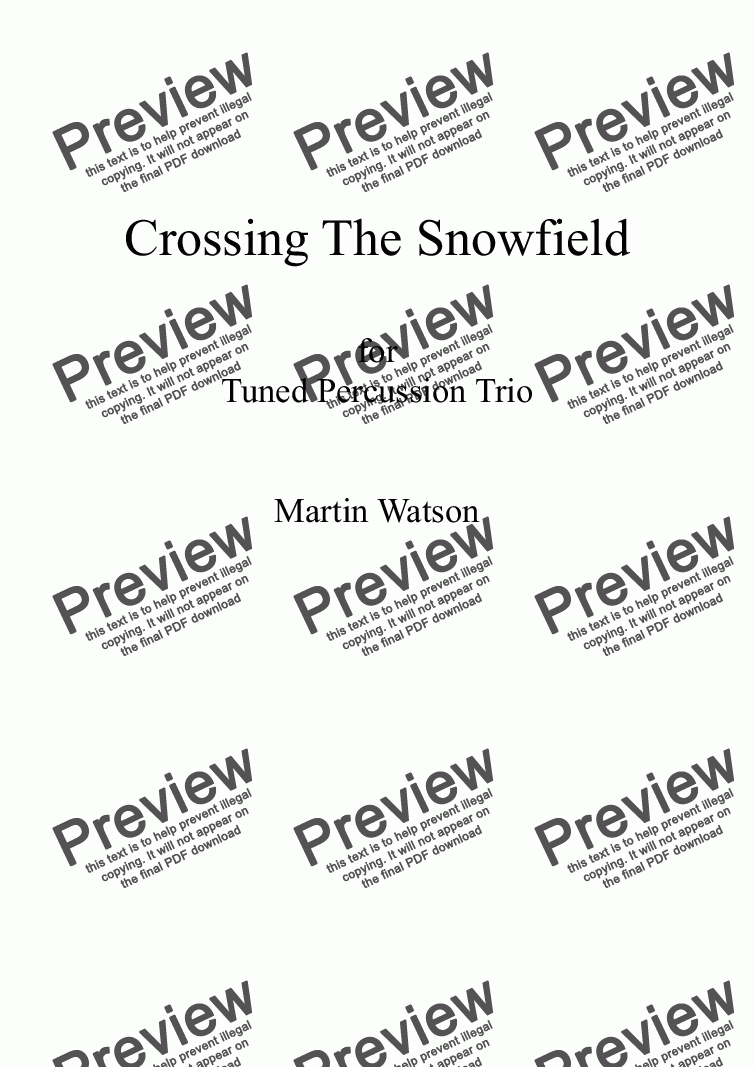 page one of Crossing The Snowfield for Tuned Percussion Trio