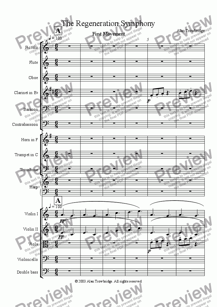 page one of The Regeneration Symphony, First Movement