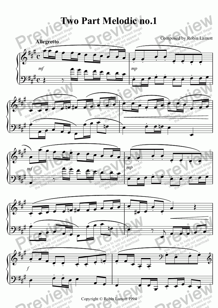 page one of Two Part Melodic no.1