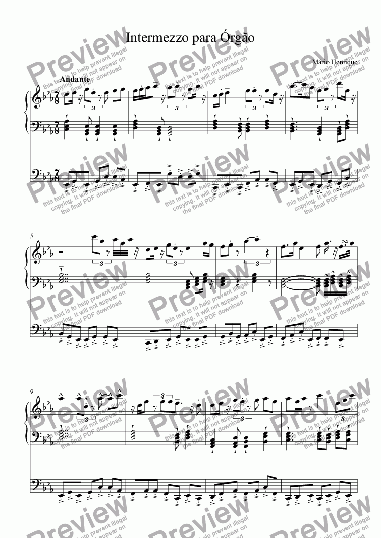 page one of Intermezzo para Órgão