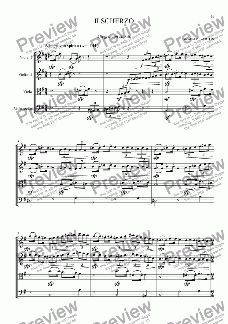 page one of STRING QUARTET No. 1 in G  3rd Movement -