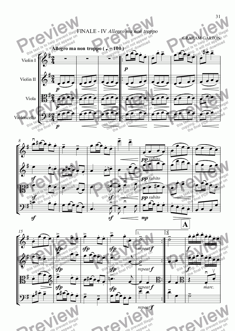 page one of STRING QUARTET No. 1 in G - FINALE Allegro ma non troppo