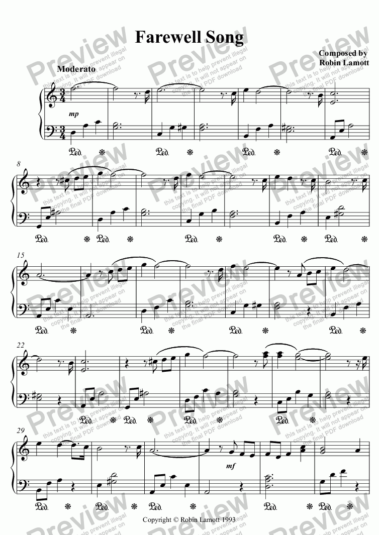 page one of Farewell Song