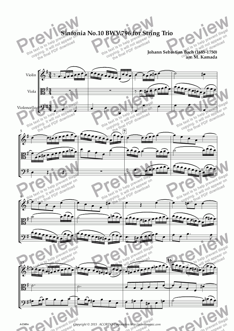 page one of Sinfonia No.10 BWV.796 for Two Violins & Violoncello