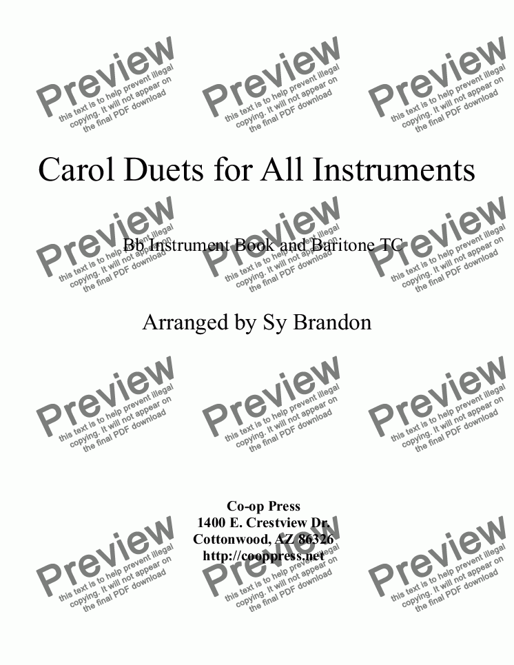 page one of Carol Duets for all Instruments Bb Book