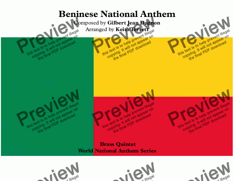 page one of Beninese National Anthem (The Dawn of a New Day-L'Aube Nouvelle) for Brass Quintet (World National Anthem Series)