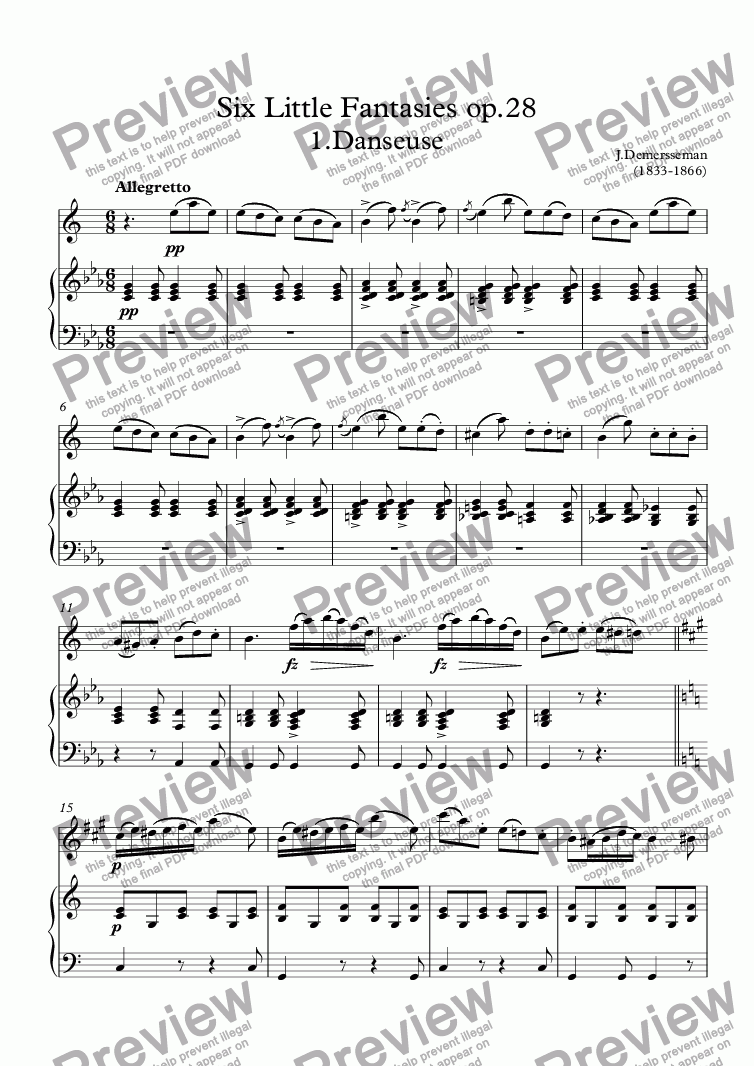 page one of Six Little Fantasies op.28