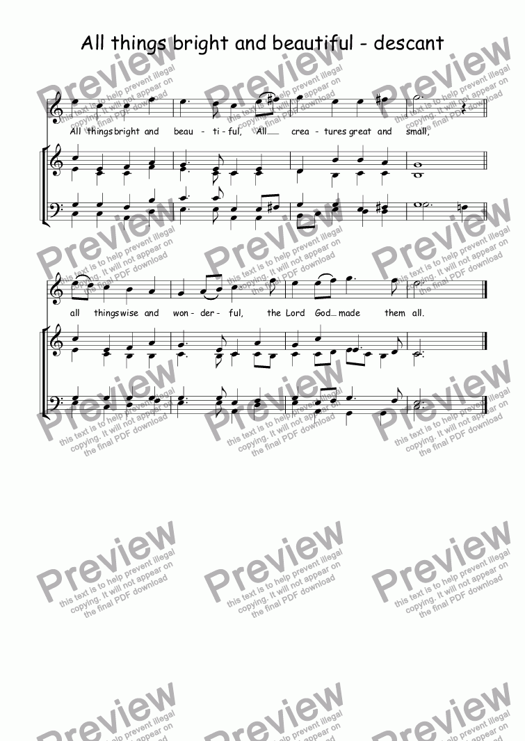 page one of Descant (vocal/instrumental) to All things bright and beautiful