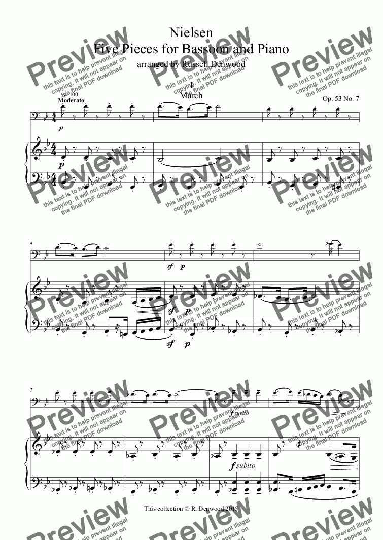 page one of Nielsen - Five easy Pieces for Bassoon and Piano