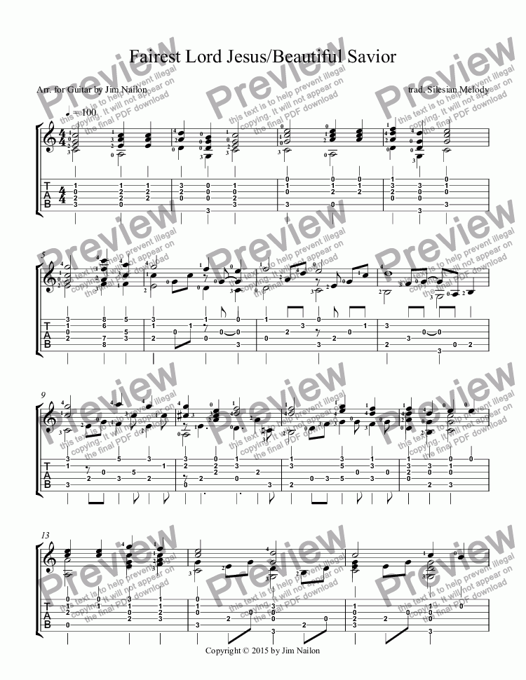 page one of Liturgical Guitarist: Fairest Lord Jesus/Beautiful Savior